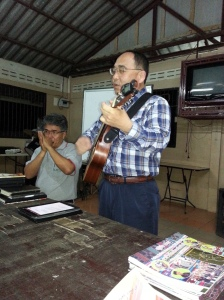 pastor Luka playing his harmonica while I play guitar. we made a pretty good combo